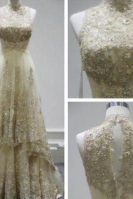 Charming Prom Dress, Sexy Evening Dresses,High Neck Prom Dress, Lace Formal Evening Dress, Long Prom Dress F3295