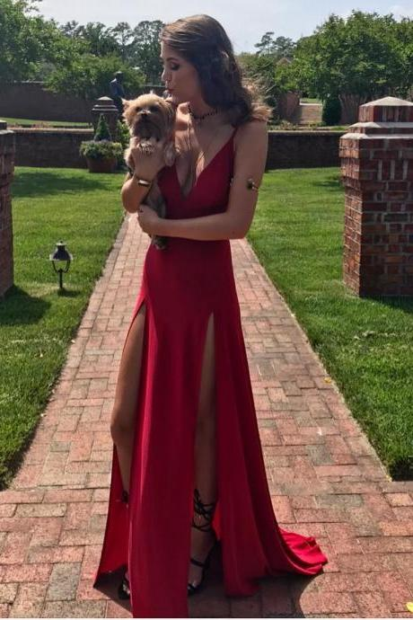 Charming Prom Dress, Sexy Red Evening Dress with Slit, Sleeveless Prom Dress,Deep V Neck Party Dress, Long Evening Dresses F3346