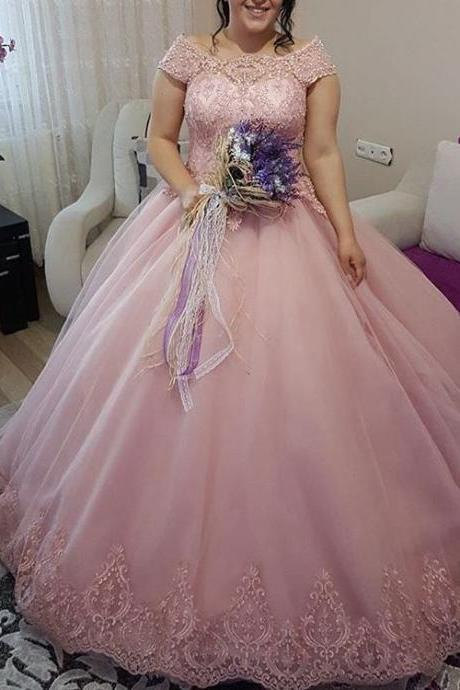 Charming Prom Dress,Ball Gown Prom Dresses,Appliques Lace Evening Dress,Tulle Formal Dress,Wedding Party Dress F3500