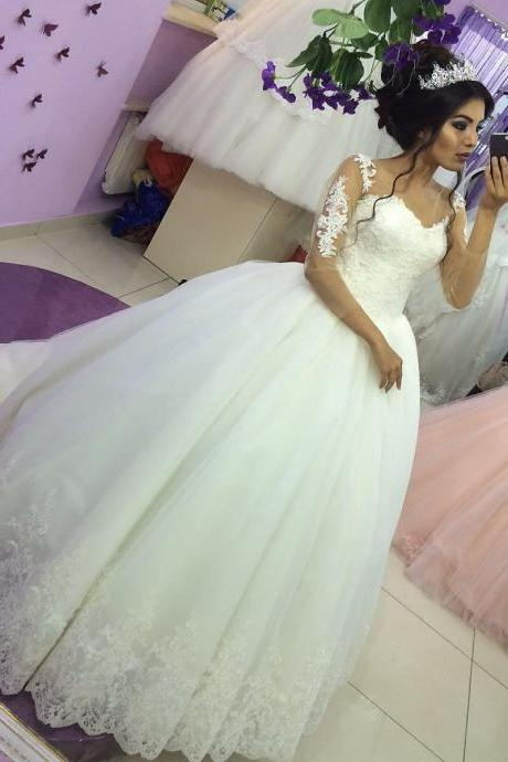Charming Wedding Dress,Ball Gown Prom Dresses,Lace Wedding Gown,Elegant Bridal Dress F3537