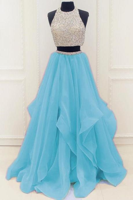 Charming Prom Dress,O Neck Beaded Evening Dress,Long Prom Dress,Two Piece Homecoming Dress, Formal Evening Dress F3592