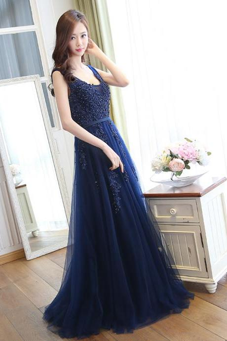 Charming Prom Dress,Long Homecoming Dress,Appliques Evening Dress,Elegant Tulle Prom Dresses F3612