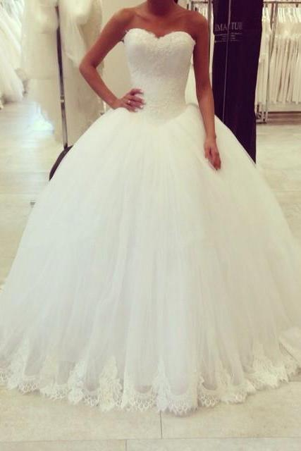 Ball Gown Wedding Dress,Tulle Wedding Dresses with Lace,Sexy Bridal Dresses F3617