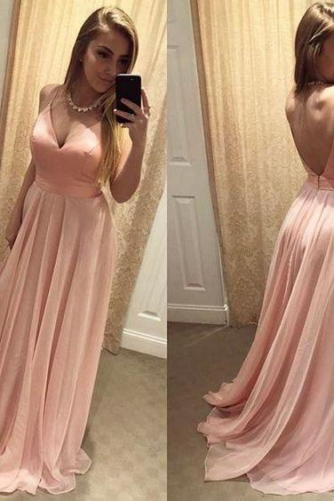 A Line Prom Dress,Sexy Long Chiffon Prom Dresses,Open Back Pink Party Dress F3627