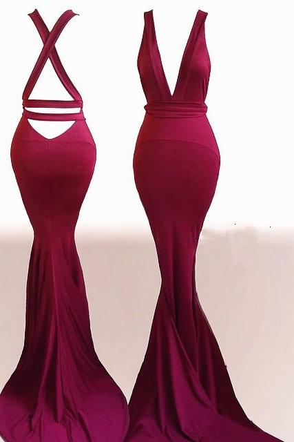 Charming Prom Dress,Sexy Evening Dress,Mermaid Evening Dresses,Sexy Burgundy Trumpet Prom Dresses F3637