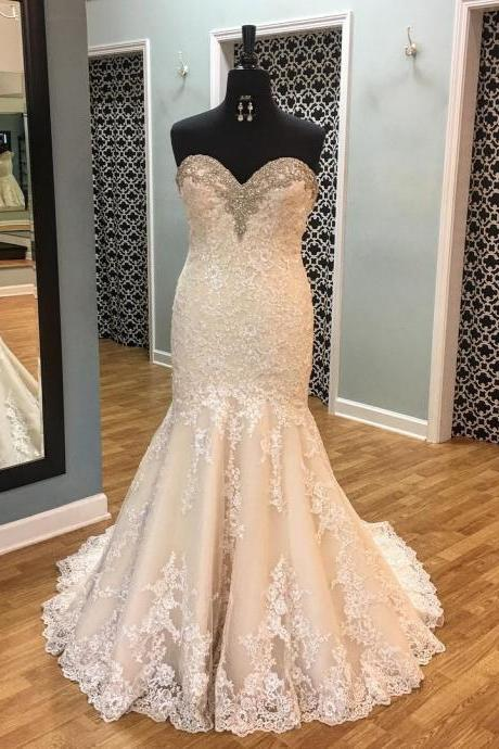 Lace Wedding Dress,Mermaid Wedding Dresses,Sweetheart Bridal Dress F3713