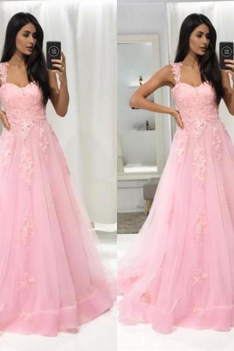 Charming Prom Dress,Sexy Prom Dresses,Appliques Pink Evening Dress,Long Homecoming Dress F3736