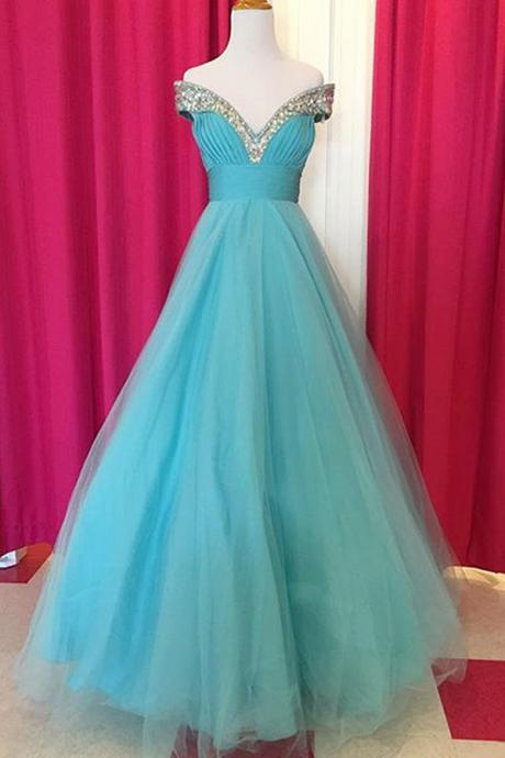 Charming Prom Dress,Tulle Blue A Line Prom Dress,Long Evening Dress,Sexy Prom Dresses,V Neck Homecoming Dress F3778