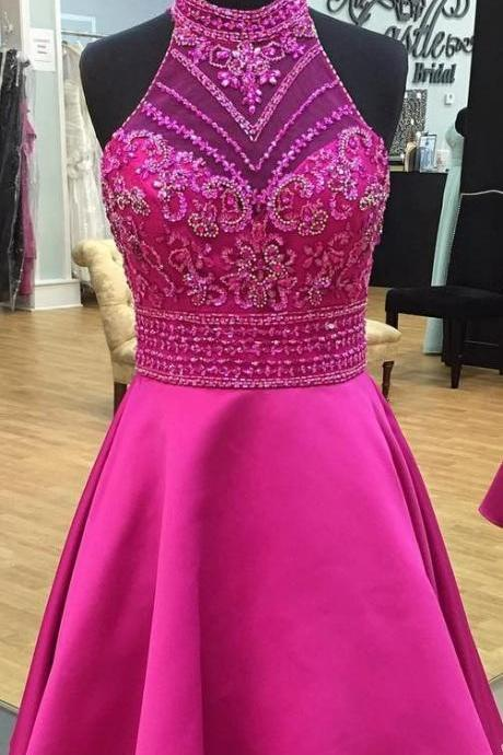 Charming Prom Dress,Beaded Homecoming Dress,High Neck Homecoming Dress,Short Prom Gowns F3786
