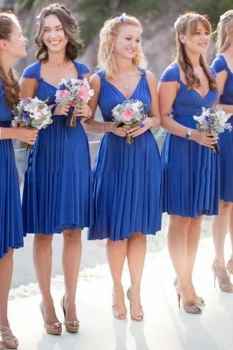 Charming Short Chiffon Blue Knee Length Bridesmaid Dress