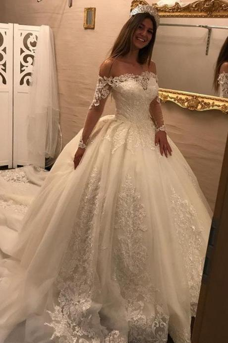 Charming Wedding Dress, Sexy Long Sleeve Ball Gown Wedding Dresses, Tulle Appliques Bridal Dresses F4006