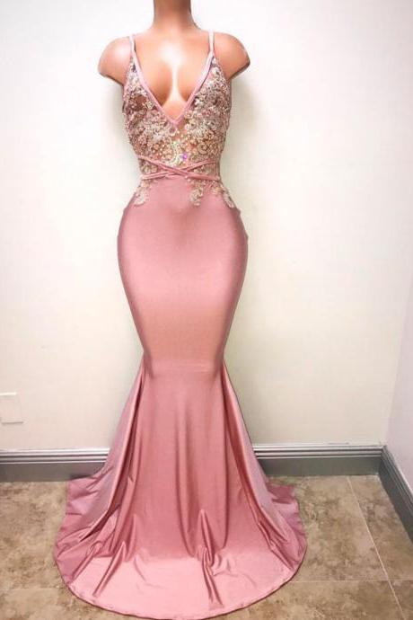 Charming Prom Dress, Mermaid Prom Dresses, Sexy Evening Party Dress, Sleeveless Evening Dresses, V Neck Evening Gowns F4012