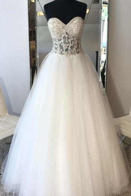 Tulle Ball Gown Wedding Dress, White Crystal Beaded Wedding Dresses, Gergeous Bling Bling Wedding Gowns, Sexy Bridal Dresses F4035