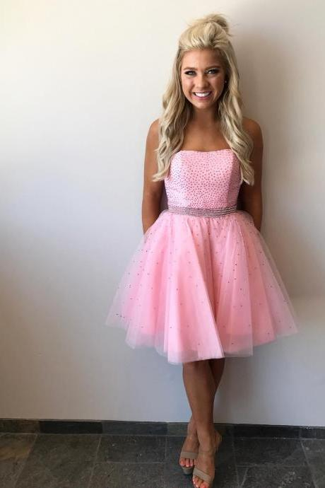 Charming Prom Dress, Pink Tulle Prom Dresses, Short Homecoming Dress, Elegant Prom Gowns F4048