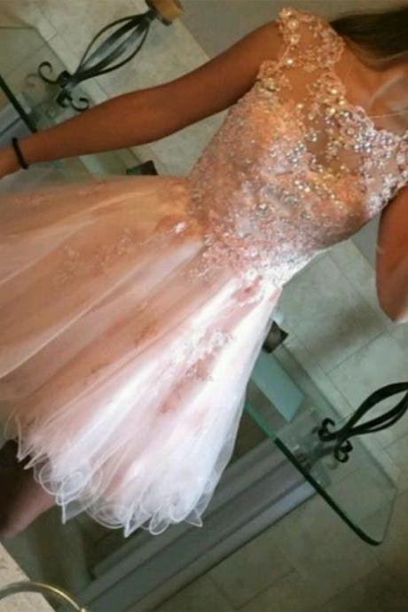 Charming Prom Dress, Sexy Prom Dresses, Pink Tulle Homecoming Dress, Short Prom Gown F4067