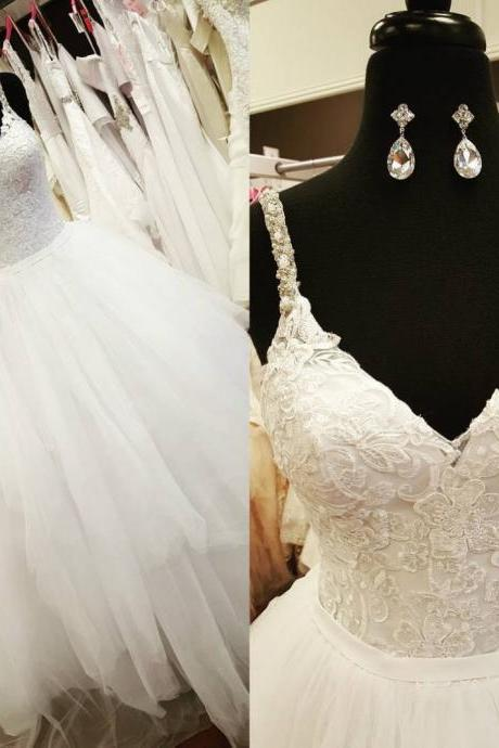 Charming Wedding Dress, Lace Wedding Dresses, Sexy Spaghetti Straps Wedding Gown, White Tulle Bridal Dress F4249