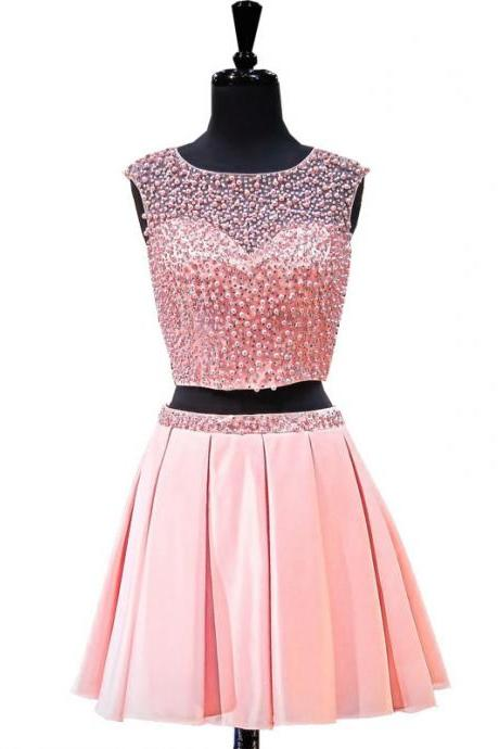 Charming Prom Dress, Two Piece Prom Dress,Tulle Prom Gown, Sexy Prom Party Dress, Short Homecoming Dress F4288