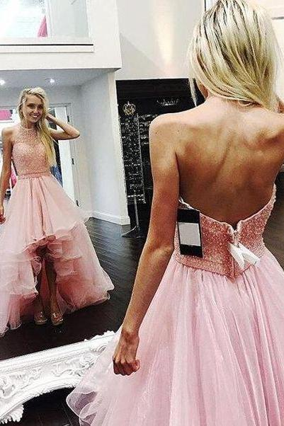 Charming Prom Dress, High Low Tulle Prom Dress, Sexy Prom Dresses, Elegant Beaded Homecoming Dress F4398