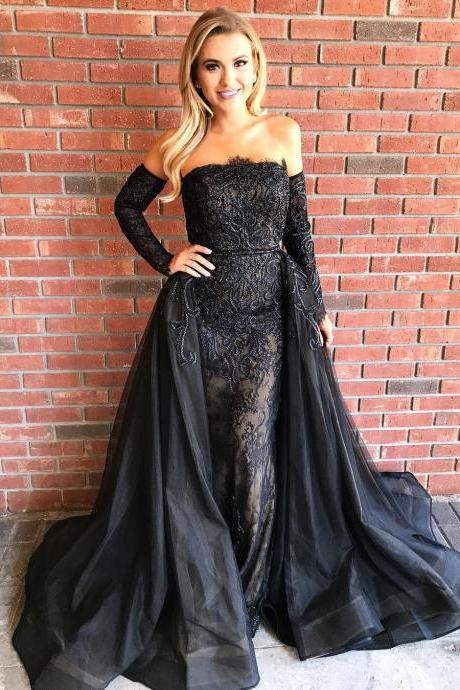 Charming Prom Dress, Long Sleeve Prom Dress , Sexy Lace Mermaid Prom Dresses , Long Evening Dress, Formal Dress F4479