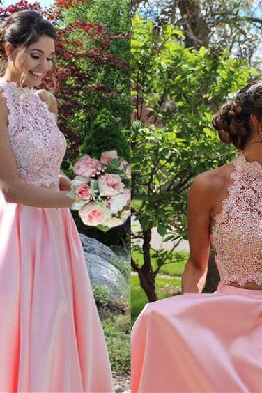 Charming Prom Dress, Sleeveless Prom Dress , Elegant Prom Dresses , Pink Lace Evening Dress, Sexy Wedding Party Dress F4482