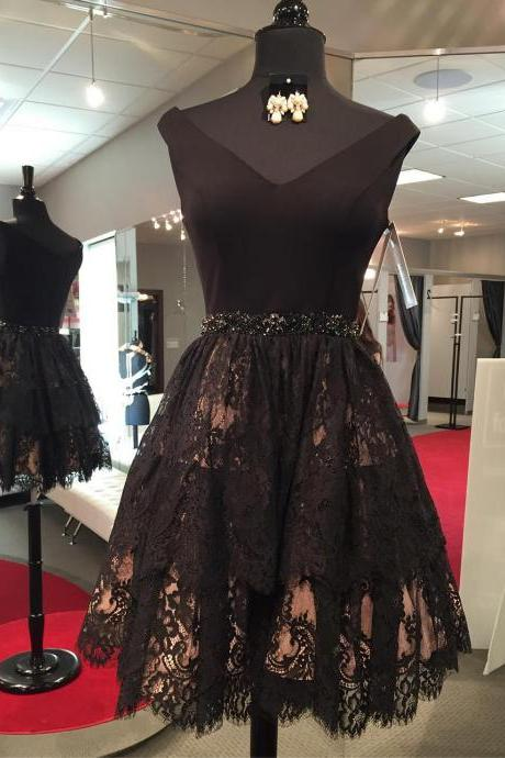 Charming Prom Dress, Sleeveless Prom Dress, Lace Prom Gowns, Elegant Short Homecoming Dress F4504