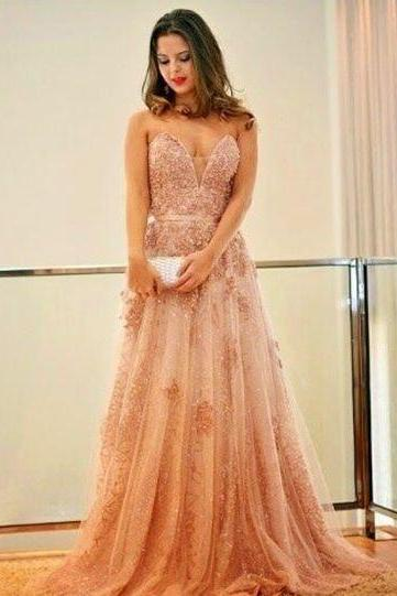 Charming Tulle Evening Dress, Sexy Appliques Long Prom Dress, Sleeveless Formal Dresses