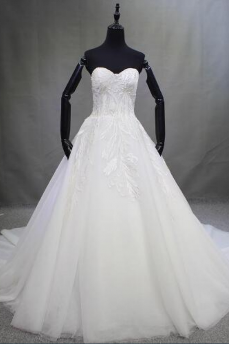 Sexy Tulle White Court Train Lace up Ball Gown Wedding Dresses