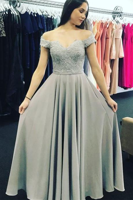 Sexy Grey Chiffon Appliques Prom Dress, Off Shoulder Long Evening Dress, Formal Gown