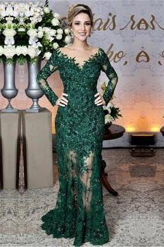Charming Evening Dress, Appliques Long Sleeve Mermaid Evening Dresses, Long Prom Dresses