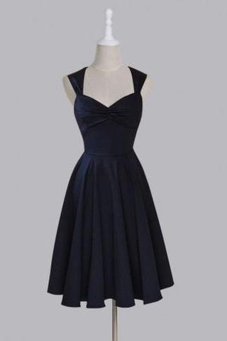 Simple Sweetheart Sleeveless Short Prom Dress, Ruched Dark Navy Homecoming Dresses