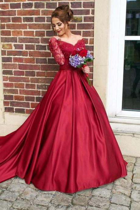 Elegant Long Sleeve Prom Dress, Ball Gown Prom Dresses, Formal Evening Dress