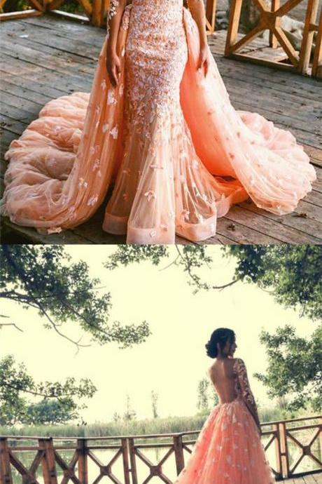 Sexy Tulle Long Sleeve Wedding Dress, Appliques Long Mermaid Wedding Dresses,Bridal Dress