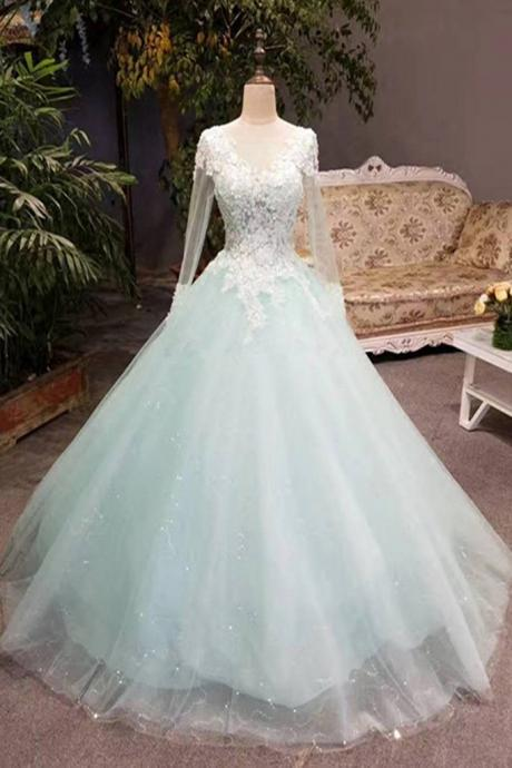 Charming Appliques Ball Gown Wedding Dress, Long Sleeve Tulle Wedding Gown, Elegant Bridal Dress