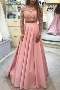 Elegant Lace Long Sleeves Appliques Prom Dresses ,Two Piece Prom Gown, Long Evening Dress