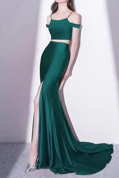 Mermaid Style Long Green Jersey Two Piece Prom Dresses, Sexy Long Mermaid Evening Dress