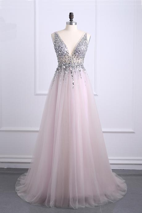 Sexy Crystal Beading V Neck Tulle Prom Dresses Long Evening Dress