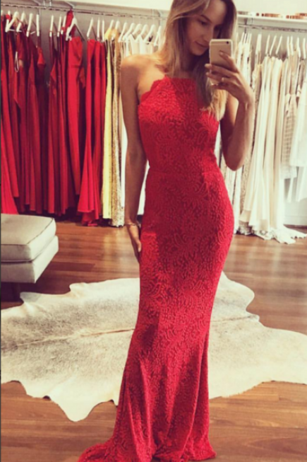 Charming Red Lace Mermaid Evening Dress, Sexy Long Prom Dresses
