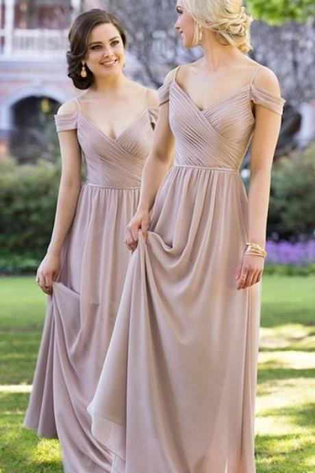 Sexy Chiffon Bridesmaid Dress, Long Pretty Bridesmaid Dresses, Wedding Party Dress