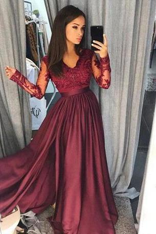 Long Sleeve Evening Dress, Lace Formal Long Prom Dress, Sexy Prom Gowns