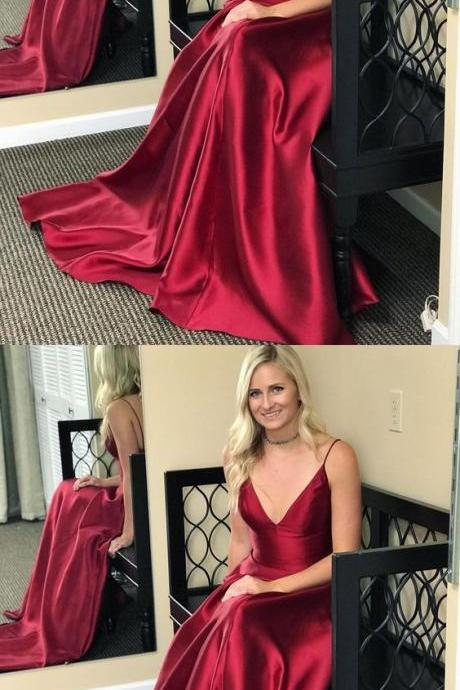 Sexy Spaghetti Straps Prom Dress, V Neck Long Prom Dresses, Sleeveless Evening Dress