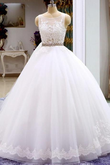 Sleeveless Tulle Ball Gown Wedding Dress, Appliques Blue Formal Wedding Gown Bridal Dresses