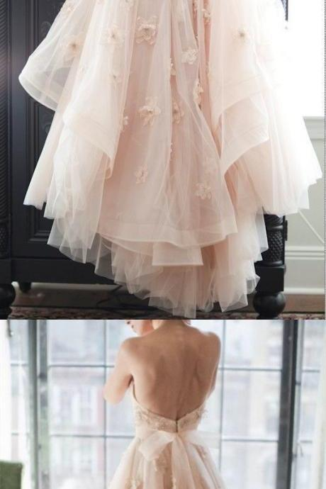 Charming Wedding Dress, Backless Tulle Wedding Gown, Sexy Bridal Dresses