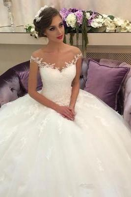 White Appliques Lace Ball Gown Wedding Dress, Sexy Tulle Wedding Gown, 2018 Bridal Dresses