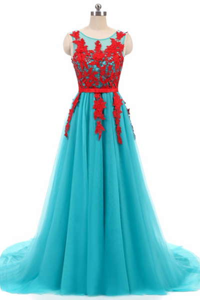 Blue Prom Dress with Red Appliques, Sexy Sleeveless Evening Dress, Long Homecoming Dress