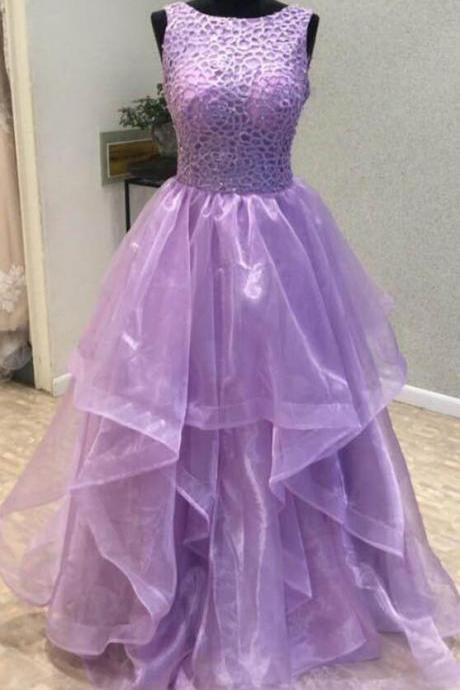Elegant Purple Tulle Prom Dress, Open Back Long Evening Dress