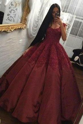 Appliques Burgundy Prom Dress, Elegant Ball Gown Prom Dress, 2018 Evening Dress, Formal Gown