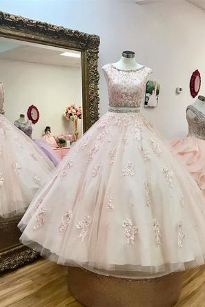 Charming Evening Dress, Ball Gown Quninceanera Dress, Appliques Prom Dresses, Formal Dress