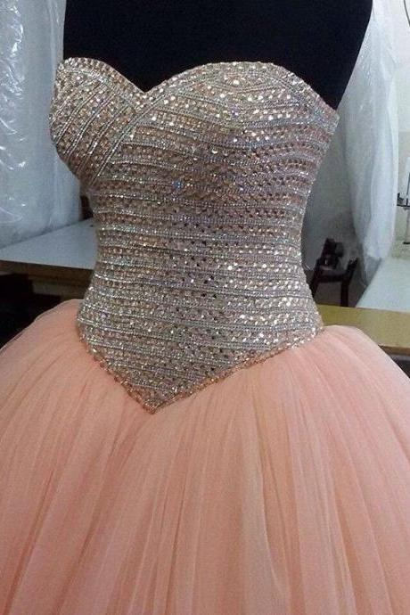 Gergeous Crystal Beading Ball Gown Prom Dresses, Sweetheart Ball Gown Quinceanera Dress, Formal Evening Dress