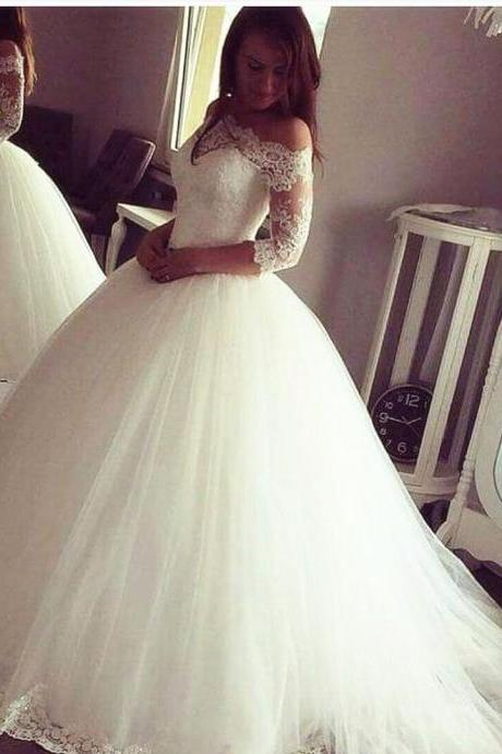 Sexy Half Sleeve White Tulle Ball Gown Wedding Dresses, Lace Wedding Gown