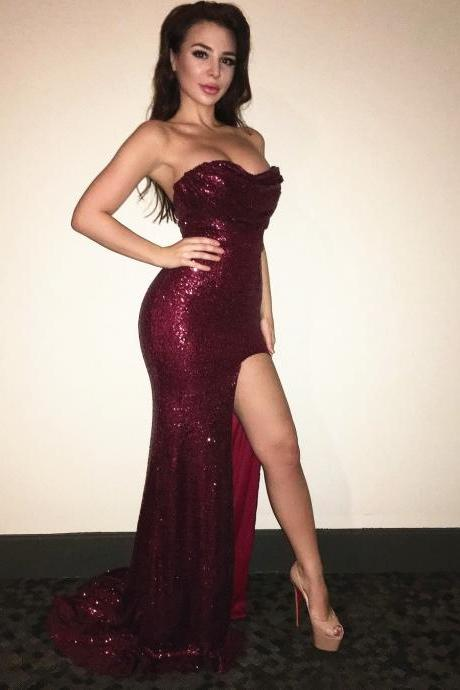 Charming Prom Dress, Burgundy Sequins Mermaid Prom Dresses with Slit, Sexy Long Party Dress